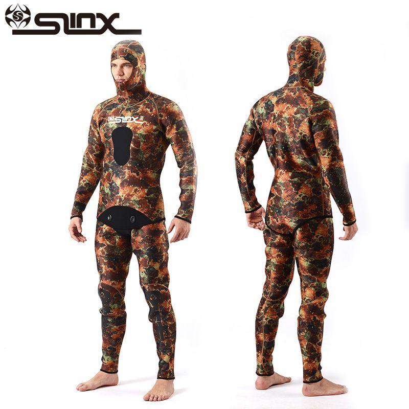 SLINX Two-piece Men Camouflage Wet Suit Swimwear with Headgear 5MM Neoprene Camo Scuba Diving Suit for Fishermen Spearfishing