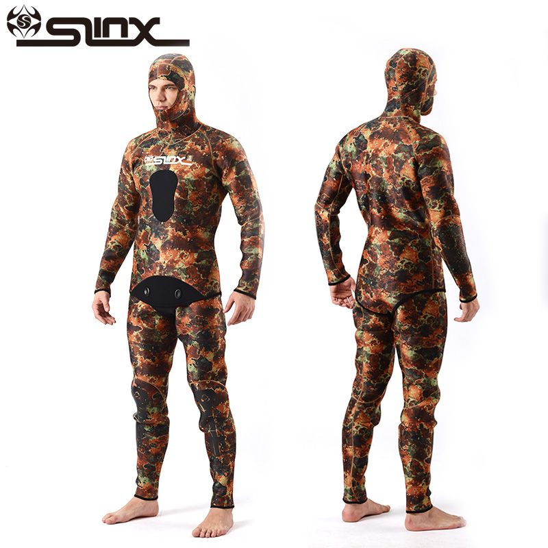 SLINX Two-piece Men Camouflage Wet Suit Swimwear with Headgear 5MM Neoprene Camo Scuba Diving Suit for Fishermen Spearfishing