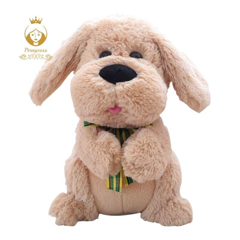 <font><b>1PCS</b></font> 28CM Electrical Peek A Boo Dog Plush Stuffed Animals Singing Baby Music Toys Ears Flaping Move Interactive Doll Kids Gifts