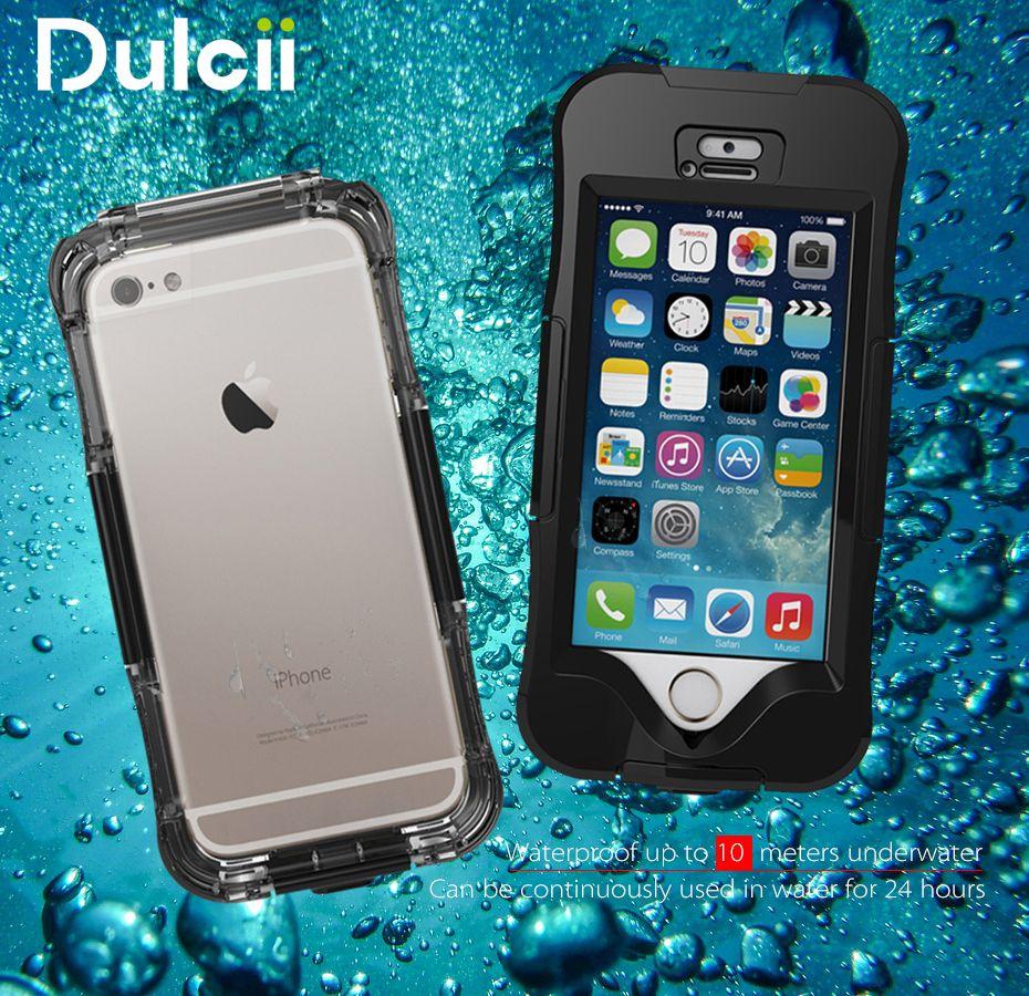 DULCII Boîtier Étanche pour l'iphone 6 s Cas pour iPhone 5S 5 IP68 10 M Neige Dirt Dust Preuve Couverture de Téléphone pour l'iphone Cas SE 6 Plus