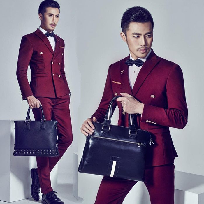 New men's suits deep wine red double-breasted suits silm host male suit small size