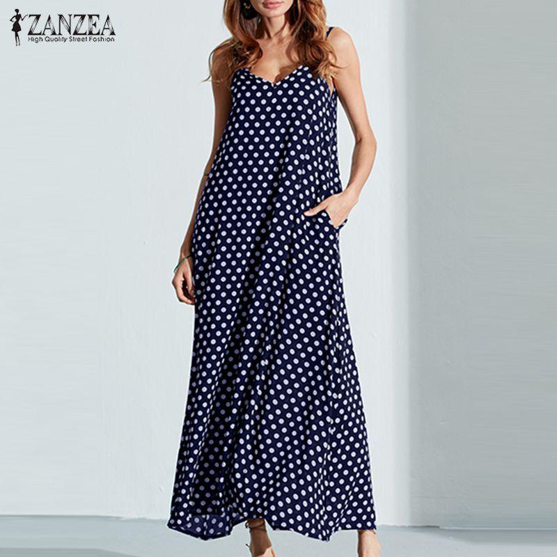 Vestido de verano zanzea 2018 moda mujer vestido de espagueti Correas Polka Dot suelta playa largo Maxi Vestidos vintage vestidos más tamaño
