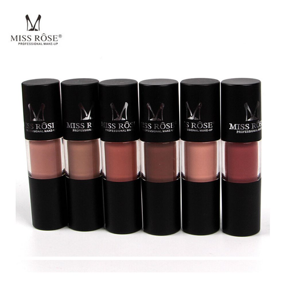 12pcs Set Miss Rose Brand Matte Lipstick Lips Gloss Waterproof Moisturizing Liquid Lipstick Nutritious Matte Lip Gloss