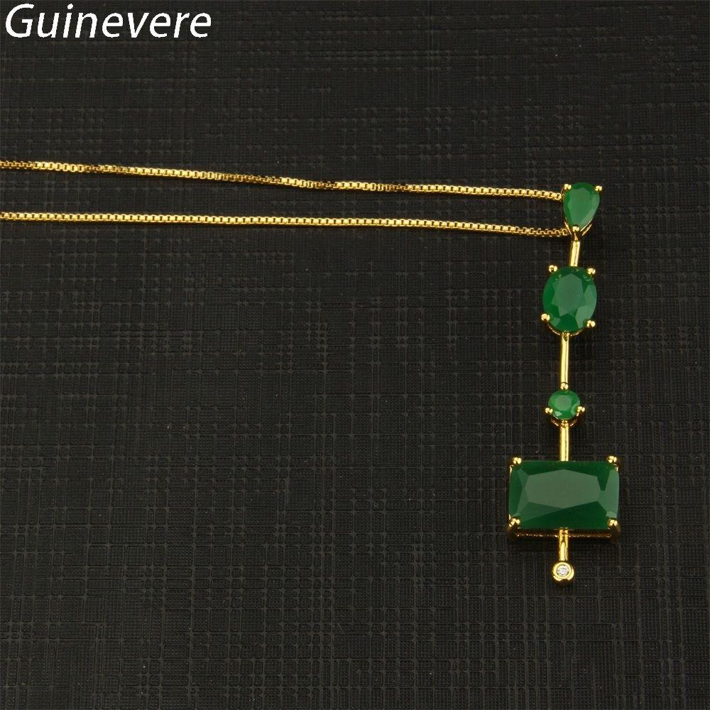 Guinevere Fashion Gold Color Copper Box Chain Multicolor Cubic Zirconia Pendant Necklaces Women's Evening Party Jewelry CZ Colar