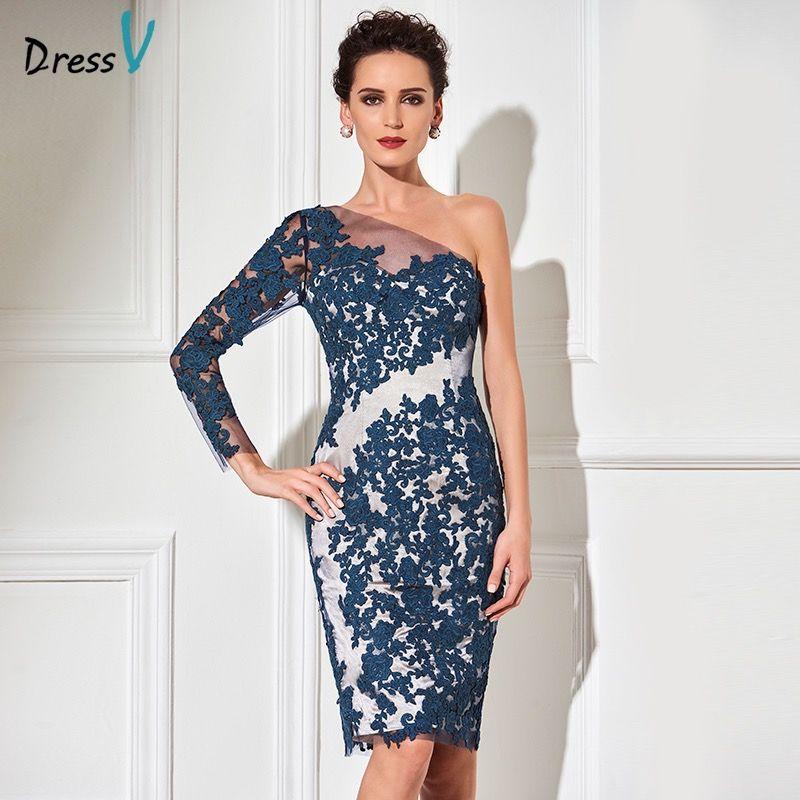 Dressv one shoulder dark navy cocktail dress sheath long sleeves knee length appliques formal party dress short cocktail dress