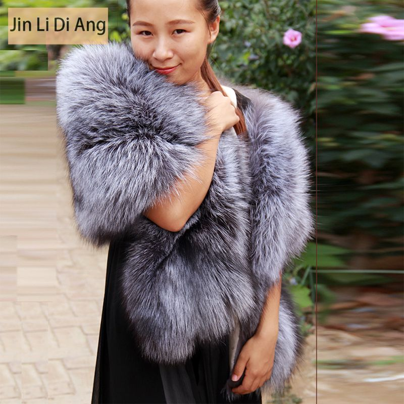 Jin Li Di Ang Women Real Natural Silver Fox Fur Shawls Collar Lady Luxury Genuine Big Long Silver Fox Fur Shawl Cape