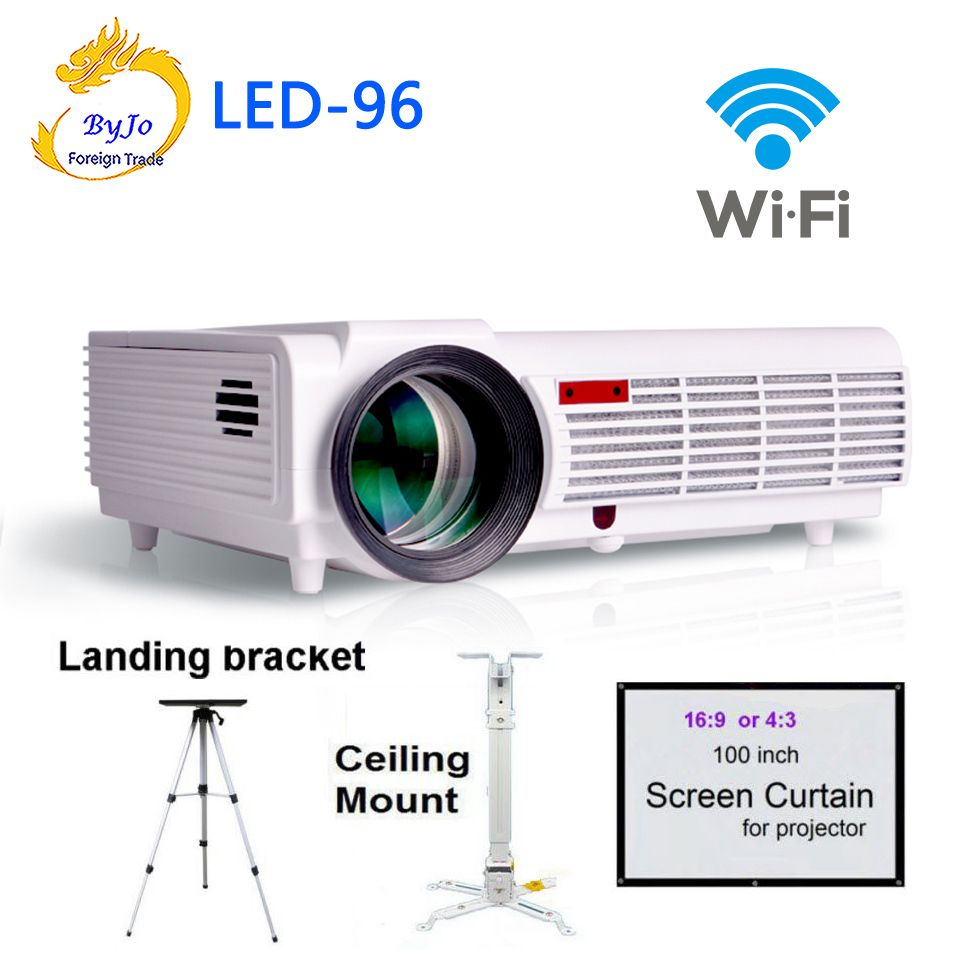LED96 wifi led projector 3D android With curtain or stand hd BT96 proyector 1080p HDMI Video Multi screen Home theater system