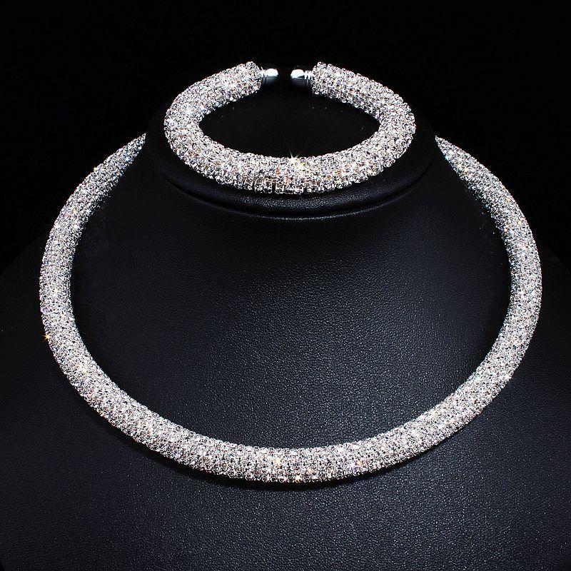 Nouveau Disign De Luxe Maxi Cristal collier Or/strass plaqué argent Couples colliers ras de cou Pour Les Femmes bijoux de mariage