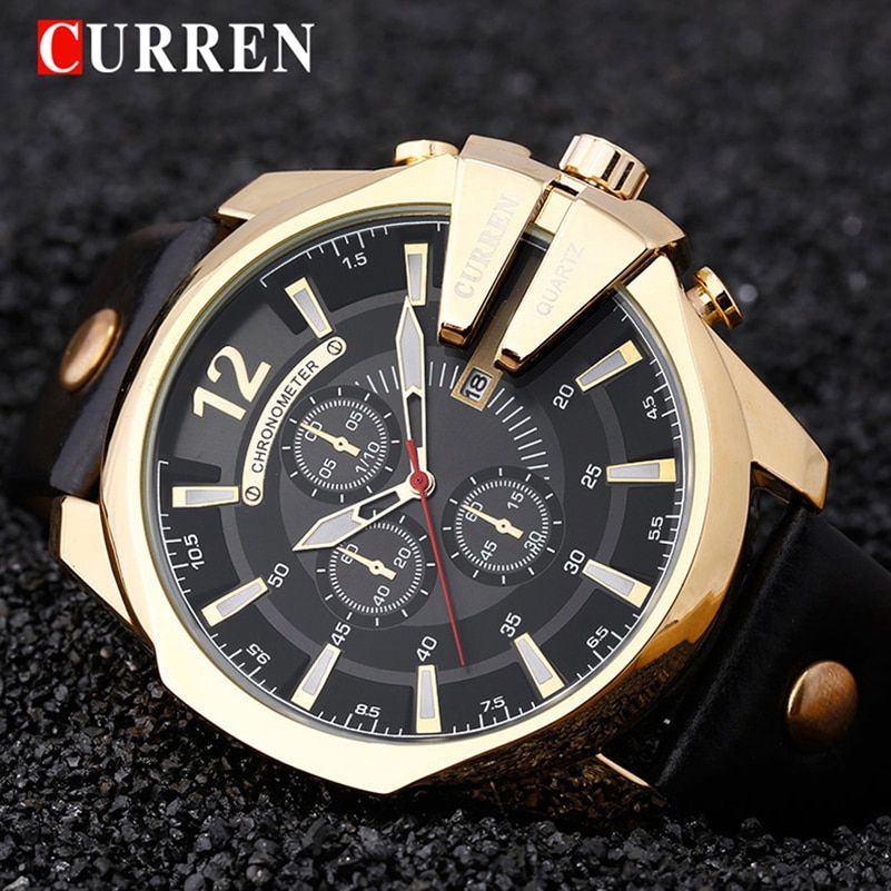 CURREN New Gold Quartz Watches Men Fashion Casual Top Brand Luxury Wrist Watches Clock Male Military Army Sport Steel Clock 8176