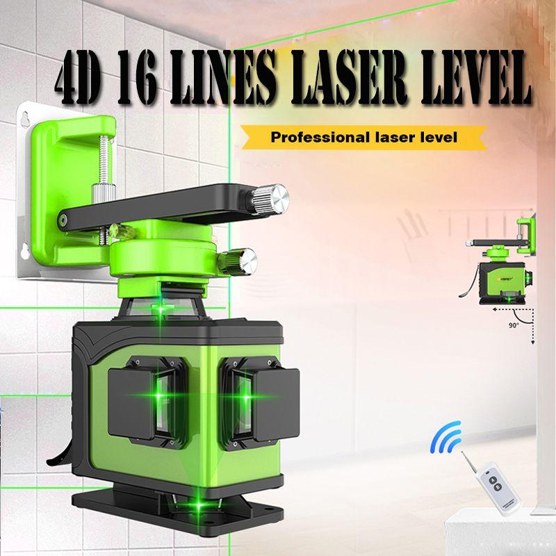 XEAST 16 linie 4D laser ebene 360 Vertikale Und Horizontale Laser Ebene Selbst nivellierung Kreuz Linie 4D Grün Laser ebene mit außen