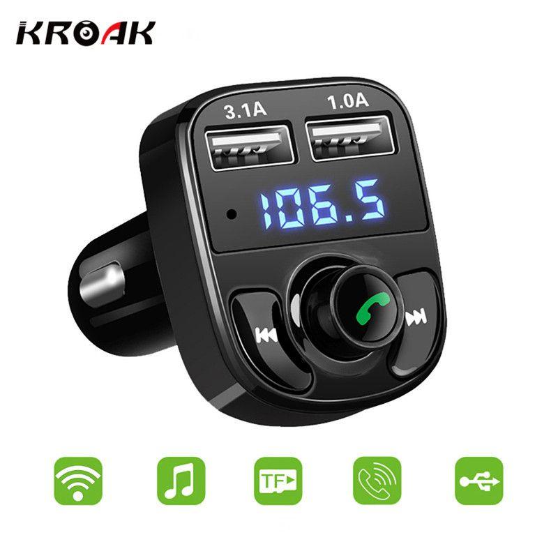 KROAK FM Transmitter Wireless Bluetooth V4.0 Handsfree Dual USB Car Charger Car Kit Audio Aux MP3 Player
