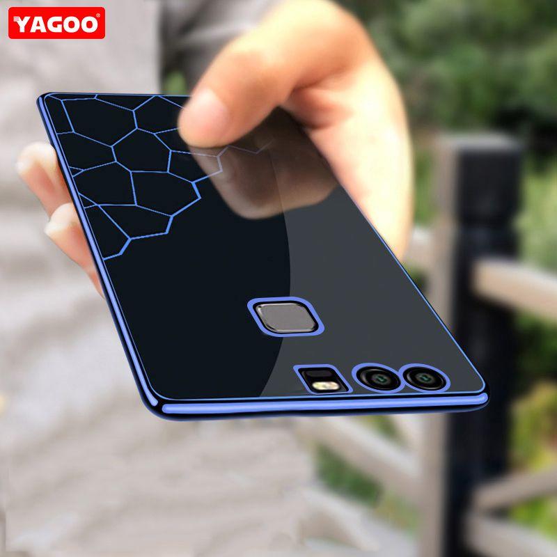 Pour huawei p9 plus cas pour huawei p9 cas silicone de luxe TPU doux de couverture arrière pour huawei p9 cas bleu noir argent couleur Yagoo