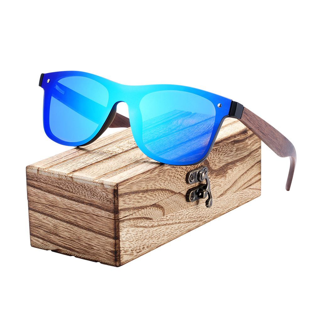 BARCUR 2018 Wood Glasses Black Walnut Sunglasses Eyewear Accessories Female/Male Sunglasses Rimless for Men glasses