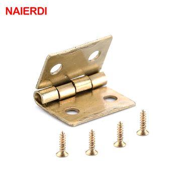 10 PCS NAIERDI Mini Bronze Or Charnière Carré Antique Porte Charnières Pour En Bois Cabinet Tiroir Boîte à Bijoux Meubles Matériel