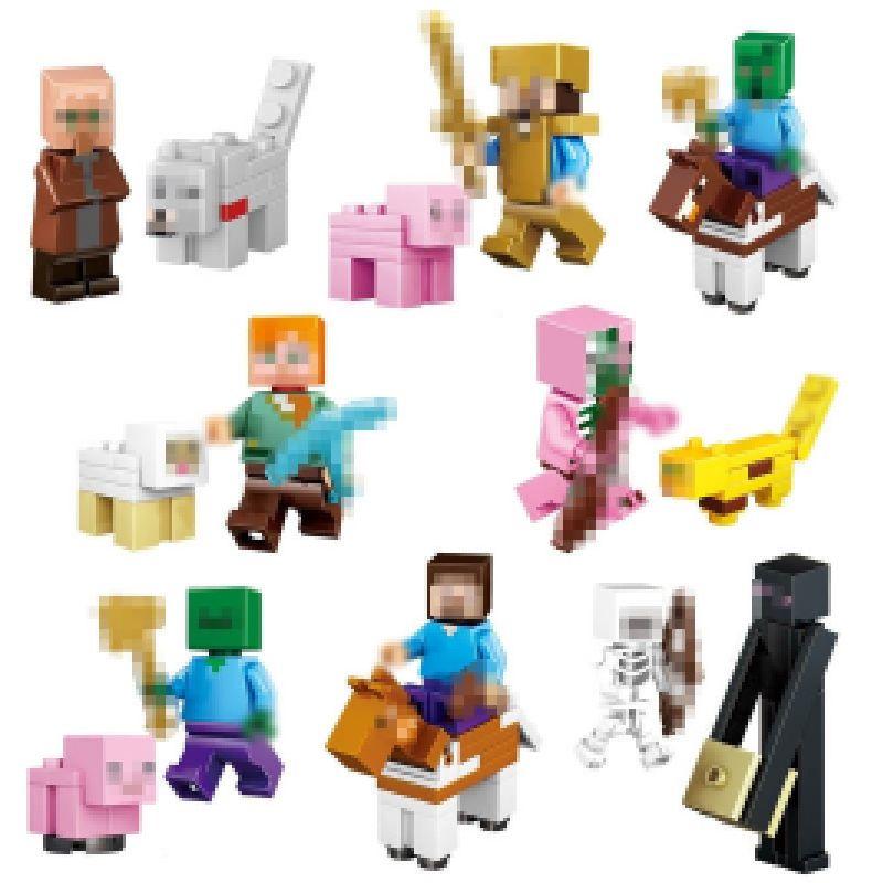 16Pcs/Lot Minecraft Compatible Building Blocks Toys Steve Alex Zombie Skeleton Weapon Action Figures Gift Toys for children #E