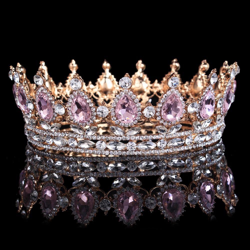 Offre spéciale nouvelle mode élégant rose cristal couronne de mariée classique diadèmes en or pour les femmes de mariage cheveux bijoux accessoires