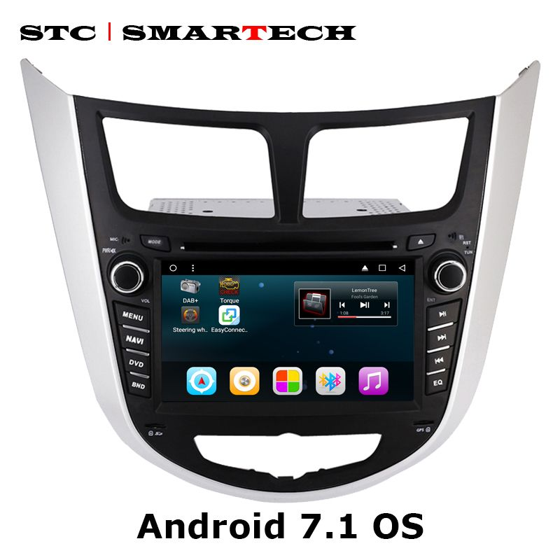 SMARTECH 2 Din Android 7.1 Car DVD Player GPS Navigation Car Radio For Hyundai Solaris accent Verna i25 Auto Radio Head Unit