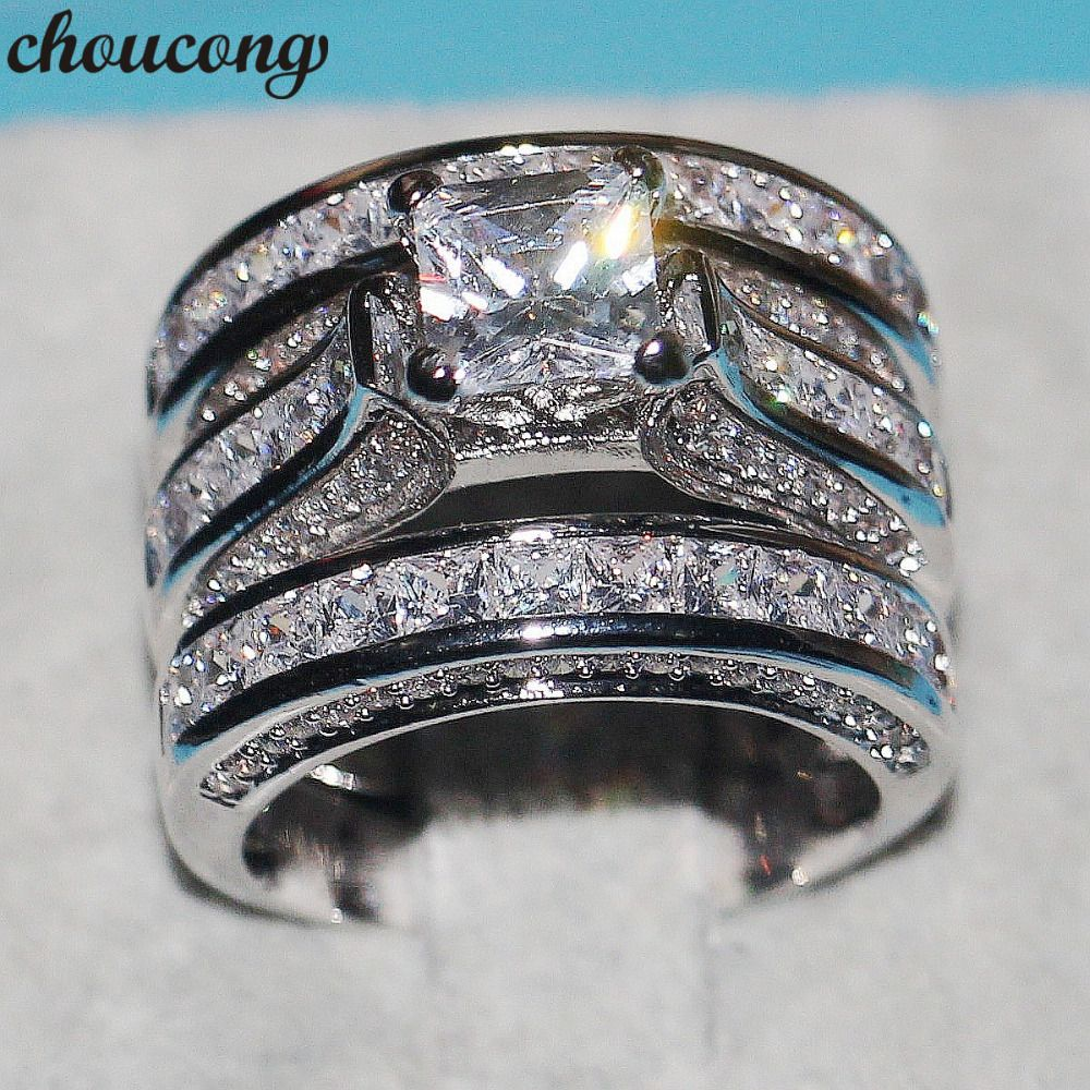 choucong Dropshipping Handmade Women Men Jewelry 3-in-1 Wedding ring 925 Silver Princess cut 5A Zircon Cz Engagement Band Rings
