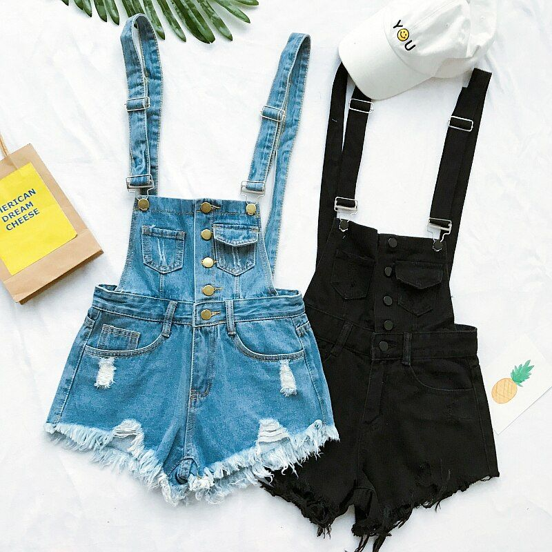 2017 Hot Vogue Women Clothing Denim Playsuits Cotton Strap Rompers Shorts Loose Casual Overalls Shorts Rompers Female Playsuits