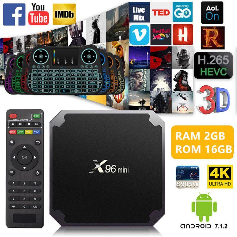 NEW X96 mini Android 7.1 Smart TV BOX 1/2GB 8/16GB Amlogic S905W Quad Core KODI H.265 UHD 4K 2.4G WiFi Set-top box+IR Cable