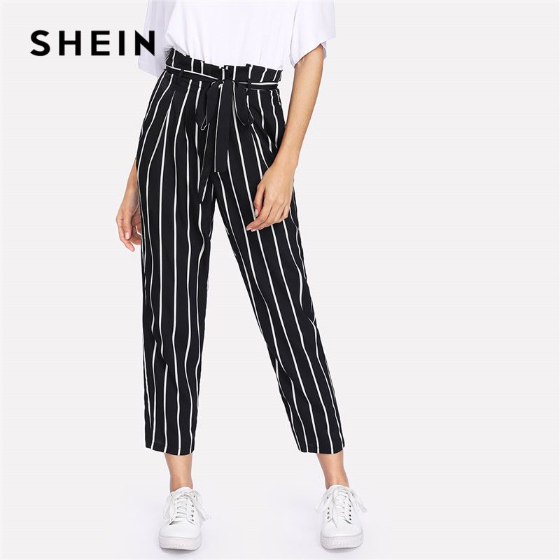 SHEIN Self <font><b>Belt</b></font> Striped Pants Women fashion Clothing High Waist Zipper Fly Trousers 2018 Spring New Casual Carrot Pants