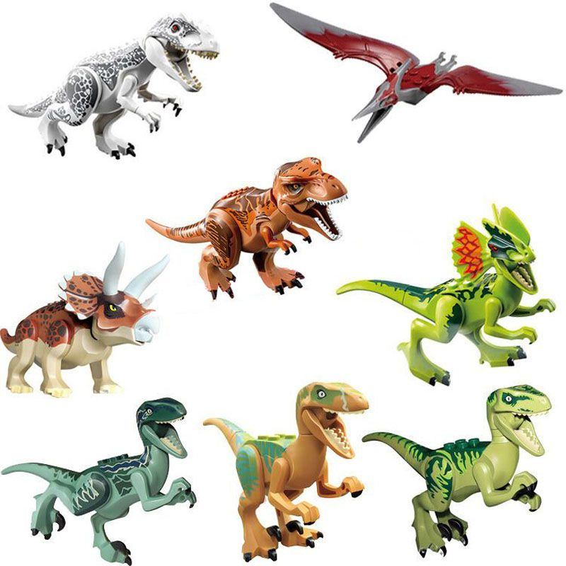 ENLIGHTEN 8pcs/lot 77001 Jurassic World Dinosaur Bricks Mini Block Building Blocks Compatible With Legoed Baby Toys for Children