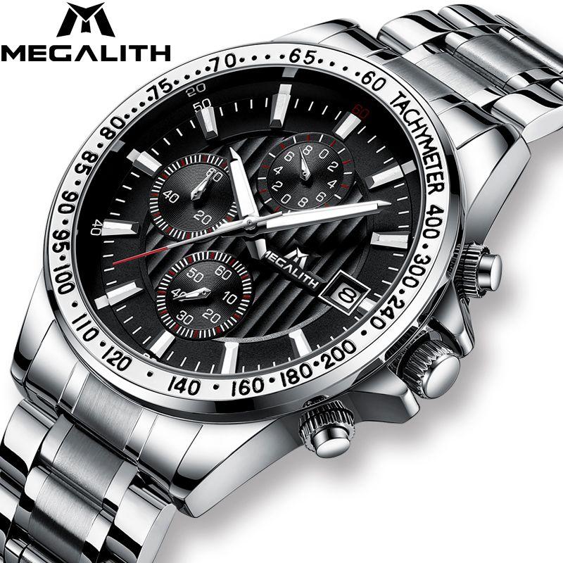 MEGALITH Mode Armee Military Uhren Herren Stahl Armband Quarz Uhr Sport Chronograph Wasserdichte Uhren Männer Relogio Masculino