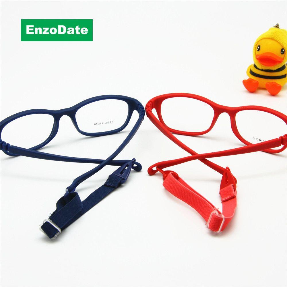 Cadre de lunettes optiques pour enfants avec sangle taille 48, lunettes pour enfants monobloc avec cordon, pas de vis Flexible filles garçons lunettes