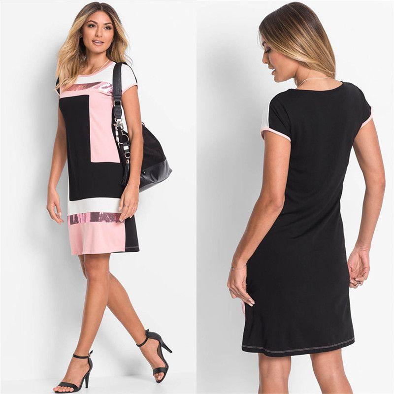 Nouvelle mode femmes Sequin Patchwork Mini robe d'été à manches courtes Mini robe femmes bohème soirée Mini robes de plage