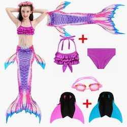 2018 Kids Children Mermaid Tails for Swimming Mermaid tail with Monofin Girls Costumes Swimmable Swimsuit with Bikini Flipper
