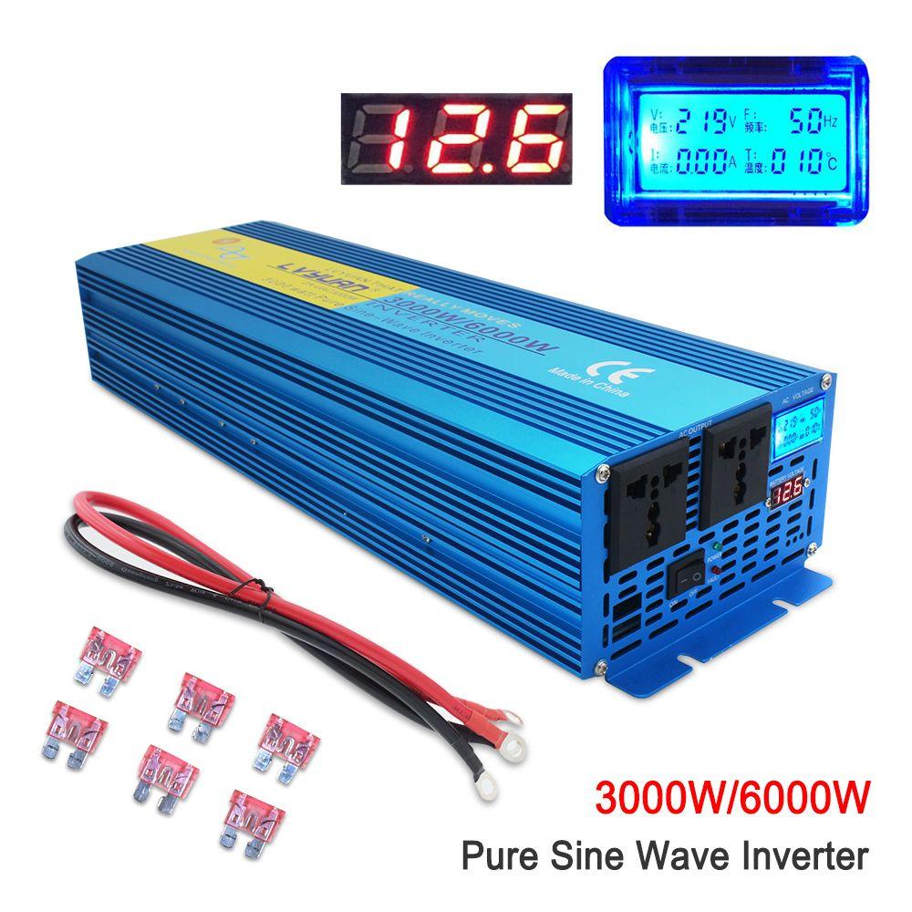 Reine sinus welle Power inverte Digital Display 6000W MAX DC 12 V/24 V Zu AC 220V 50 HZ/60 HZ CAMPING BOOT SINUS