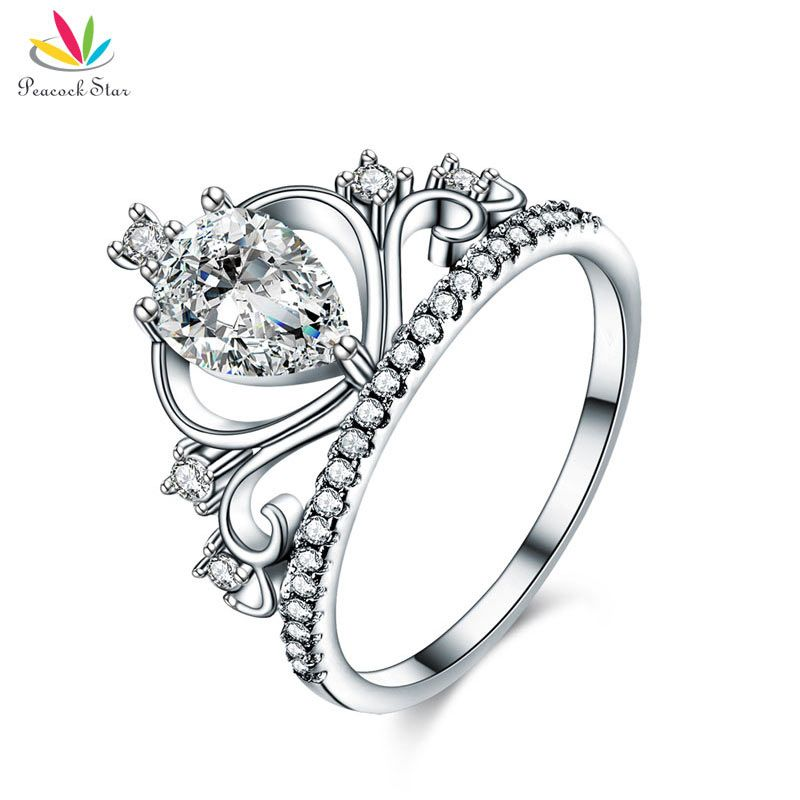 Peacock Star Solid 925 Sterling Silver Crown Ring 1 Cart Pear Cut for Lady Trendy Stylish Jewelry CFR8278