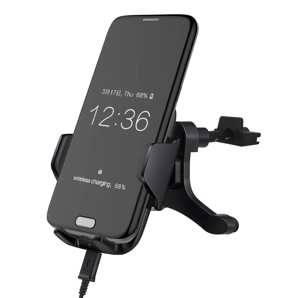Vente chaude! Qi Voiture Sans Fil Chargeur Téléphone Titulaire Air Vent Style Sans Fil voiture De Charge Pad pour Samsung S6 S7 Bord Plus Note 5