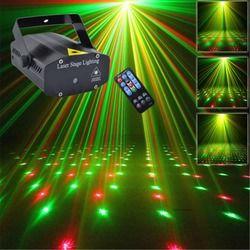 Mini Portátil IR Remote 110-240 V Vermelho Verde Laser Meteor Star II Luzes Projetor Dsico DJ Festa Em Casa natal LEVOU Iluminação de Palco OIB