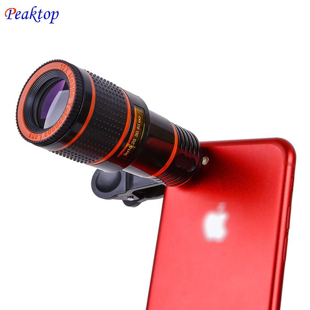 Peaktop 12X Optical Zoom Telescope Camera Lens High Clear No Dark Corners Mobile Phone Telescope for iPhone 6 7 Samsung Sony