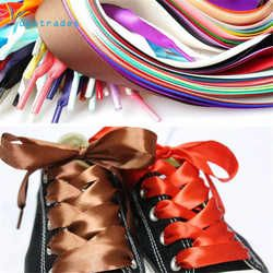 1 PAIRE De Mode 120 CM Plat Soie Ruban Lacets Lacets Sneaker Sport Chaussures Dentelle Camping Lacets Croissante Toile Cordes
