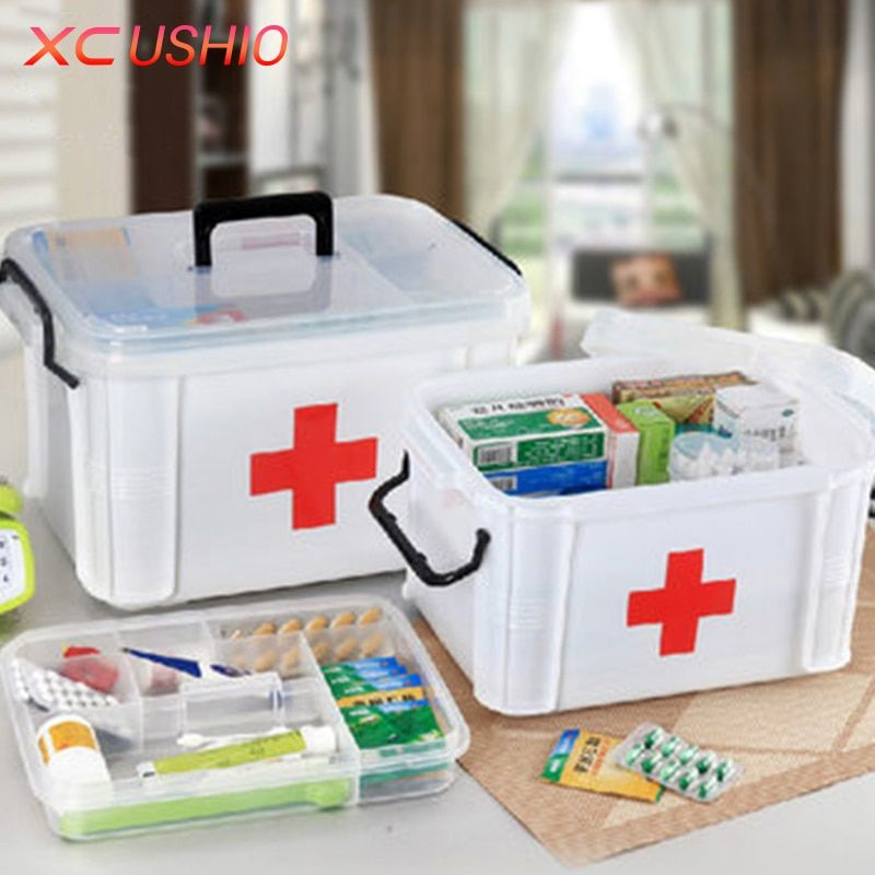 Extra Large Household Double Layer Storage Organizer First Aid Kit Multifunctional Medicine Box Sundries Storage Boxes & Bins
