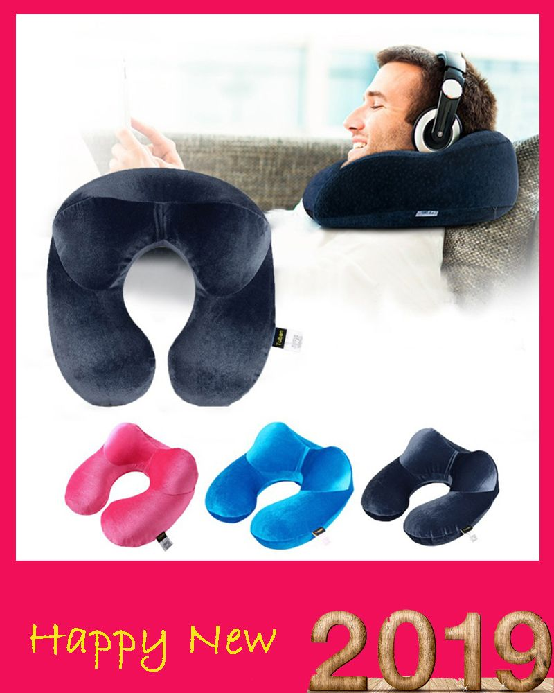 U shape Pillows Inflatable Neck Pillow Sleep Textiles Comfortable Form Cushion Journey From Aircraft Travel Accessories