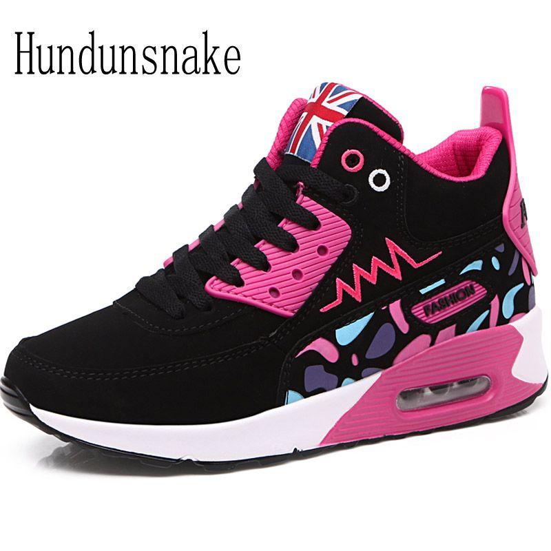 Hundunsnake High Top Winter Sneakers Women Black Sneakers 2017 Women Sport Shoes Female Krasovki Ladies Running Shoes Suede T382
