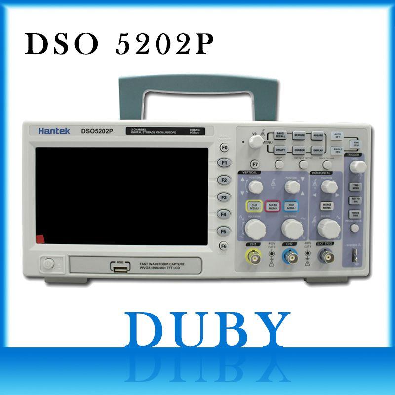 Hantek DSO5202P USB osciloscopio de almacenamiento digital 200 MHz 2 canales 1GSa/s 7 ''TFT LCD longitud 40 K USB AC110-220V