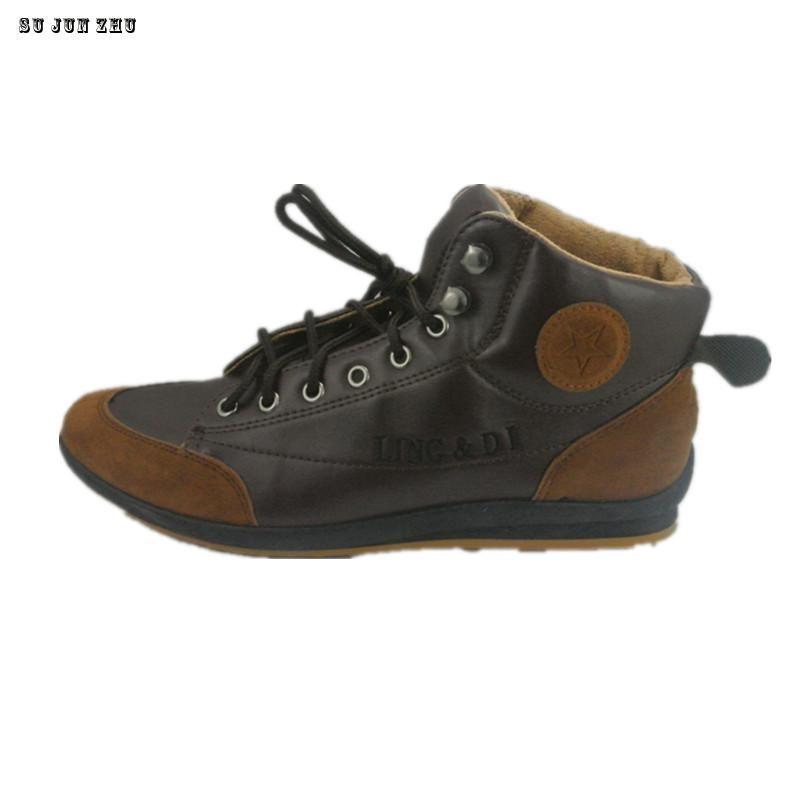 Мужская обувь 2016 г.; Новинка Для мужчин шить PU кожаные сапоги Повседневное Британский ботинки осень-зима 39-44