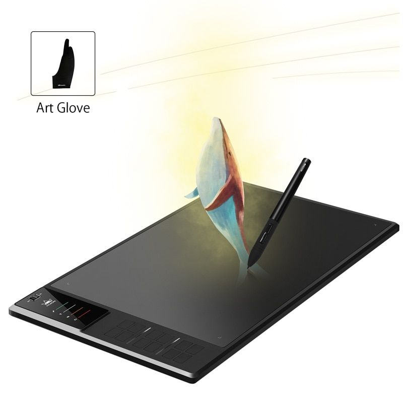 HUION Giano WH1409 14 inches Wireless Digital Tablets Graphics Drawing Pen Tablet with 8192 Levels and Free Gift Glove