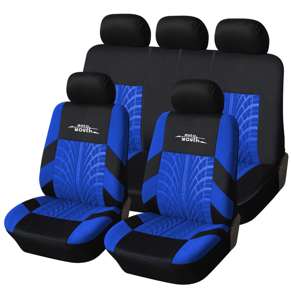AUTOYOUTH 3 Colour <font><b>Track</b></font> Detail Style Car Seat Covers Set Polyester Fabric Universal Fits Most Cars Covers Car Seat Protector