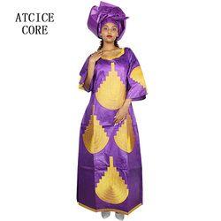 Afrika Gaun untuk Wanita Baru Afrika Bazin Bordir Desain Gaun Panjang LA093 #