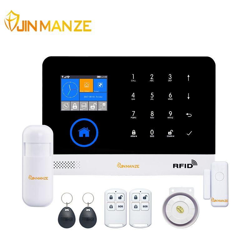 JINMANZE Sans Fil WIFI GSM GPRS Accueil Cambrioleur de Sécurité Système D'alarme GSM Anglais Allemand RFID carte Voix Rapide APP Télécommande