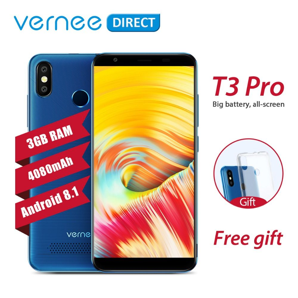 Original Vernee T3 Pro 3GB RAM 16GB ROM Android 8.1 Quad-Core Mobile Phone 5.5 Inch 4080mAh 5MP+13MP Smartphone with Free Gift