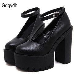Женские туфли-лодочки на платформе Gdgydh, черные повседневные туфли-лодочки на платформе и высоком толстом каблуке, модель Русланы Коршуново...