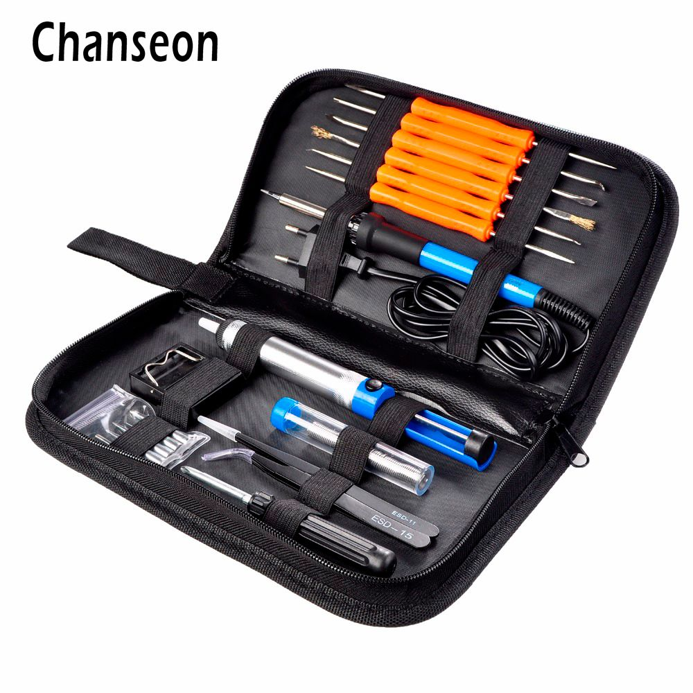 EU Plug 220V 60W Adjustable Temperature Electric Soldering Iron Kit+5pcs Tips+Tweezers Solder Wire Portable Welding Repair Tool