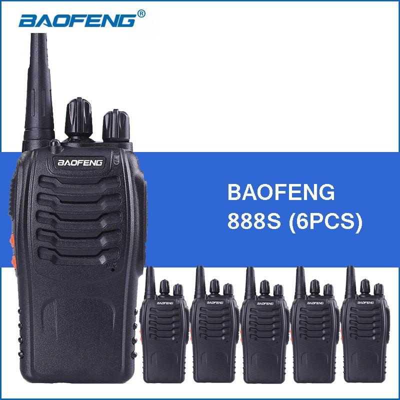 6 pcs/lot Baofeng bf888S Talkie Walkie 5 W 1500 mah BF-888S TWO-Way Radio Communicateur baofeng 888 s Talkie walkies 2-way Radios