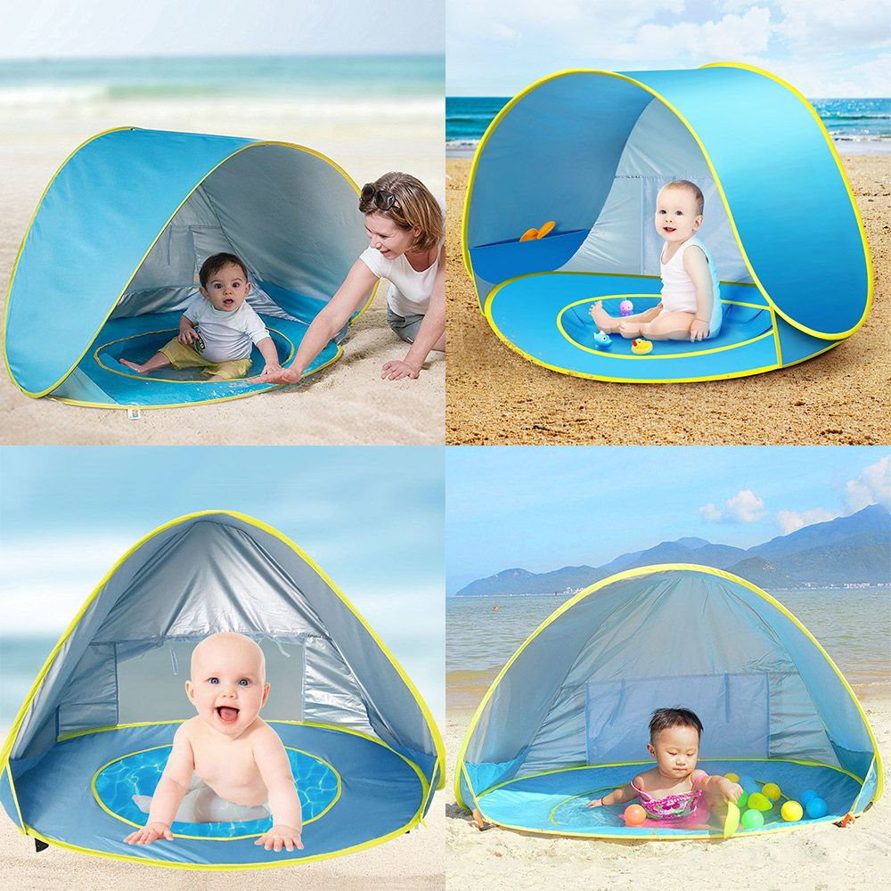 Baby Portable Outdoor Beach Tent Summer Uv-protecting Shelter Children Beach Pool Playing <font><b>House</b></font> Waterproof Pop Up Awning Tents